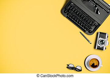 3d, coloridos, fundo, máquina escrever