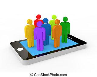 3d, coloridos, homens, ligado, um, telefone móvel