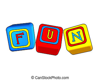 fun - 3d colour boxes with colour letters with text - fun