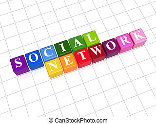 social network - rainbow - 3d colour cubes with text social...