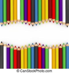 3d colourful pencils wave