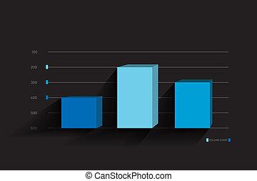 3D Column graph, chart template for infographics.