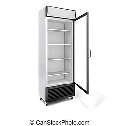 3d, comercial, refrigerador, com, porta vidro, branco, fundo