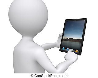 3d communication, little human character with his touch pad...