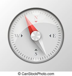 3D compass on white background.