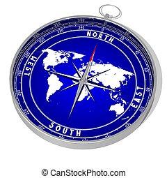 3D compass, world map