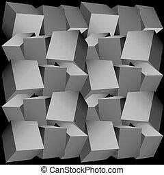 3d, composición, de, cubos