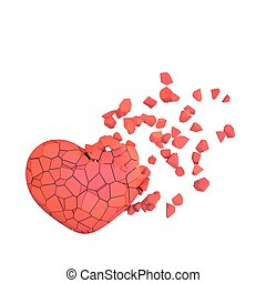 3d composition of hearts on a white background