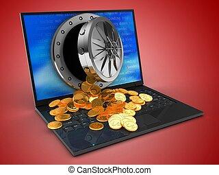 3d, computador laptop, e, tesouro
