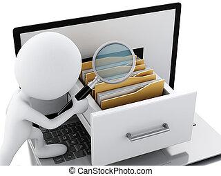 3d, computador portatil, folders., blanco, gente