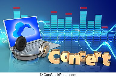 3d, computador portatil, y, auriculares, concierto, señal