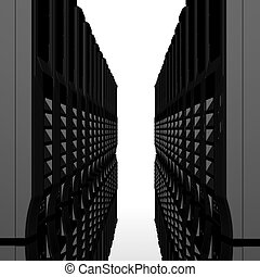 3d, computadora, servidores, consecutivo, aislado, en, un, blanco