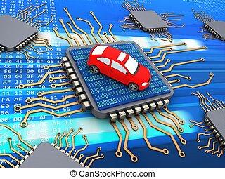 3d computer chips - 3d illustration of computer chips over...
