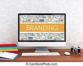 3d, computer, con, parola, branding.