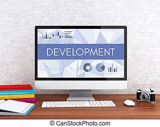 3d, computer, con, parola, development.