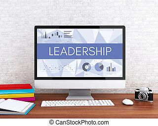 3d, computer, con, parola, leadership.