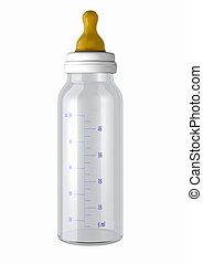 3d computer generated image of a baby bottle isolated on white background