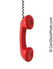 3d computer generated image of a red elephone receiver isolated on white background