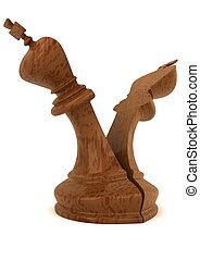 3d computer generated image of a  split king chess piece isolated on white background,split,