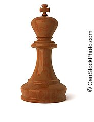 3d computer generated image of a  wooden chess king piece isolated on white background with clipping path
