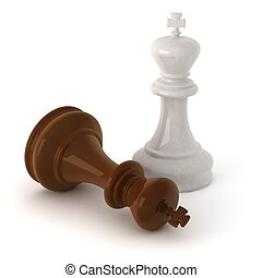 3d computer generated image of a  wooden chess king pieces isolated on white background with clipping path