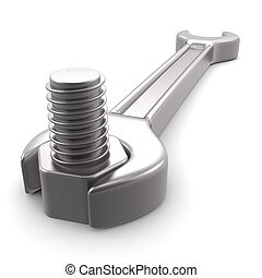 3d computer generated image of a wrench isolated on white...