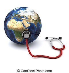 3d computer generated red stethoscope around a globe heart ...