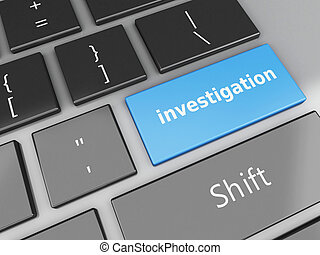 3d computer keyboard with Investigation text