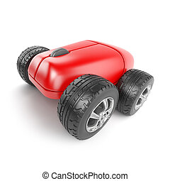 3d Computer mouse on wheels