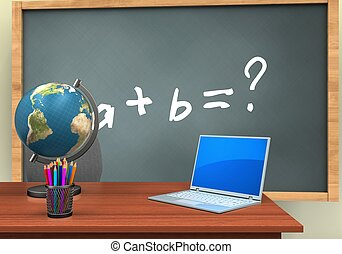3d computer - 3d illustration of chalkboard with math...