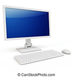 3d computer terminal generic  isolated on white background