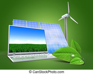 3d computer with solar and wind energy