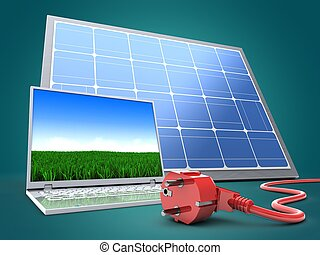3d computer with solar panel
