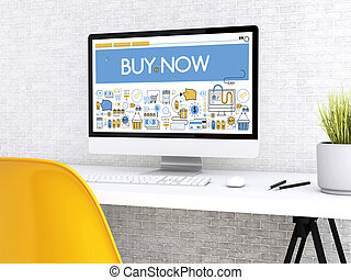 3d Computer with word BUY NOW.