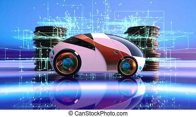 3D concept art of future electric car