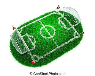 3D Concept Football on White Background