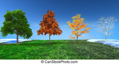 3d concept Four seasons trees in Spring, Summer, Autumn and...