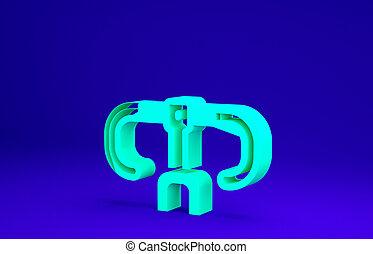 3d, concept., icône, bleu vert, guidon, minimalisme, illustration, vélo, render, arrière-plan., isolé