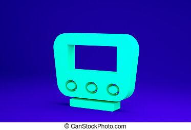 3d, concept., icône, bleu vert, minimalisme, illustration, vélo, render, compteur vitesse, arrière-plan., isolé