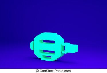 3d, concept., icône, bleu vert, minimalisme, pédale, illustration, vélo, render, arrière-plan., isolé