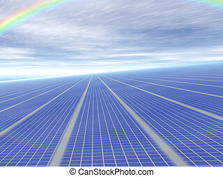 3d concept infinite solar panels against blue sky and...