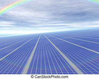 3d concept infinite solar panels against blue sky and ...