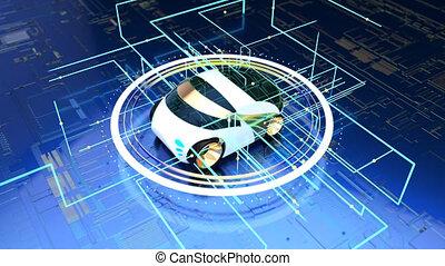 3D concept of a futuristic electric car