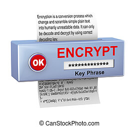 3d concept of data encryption process - 3d illustration of...