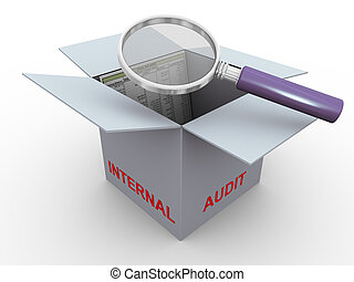 3d concept of internal audit - 3d magnifier glass hover over...