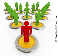 3d leader with his followers in a organization chart structure.
