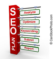3d concept of Seo search engine opt