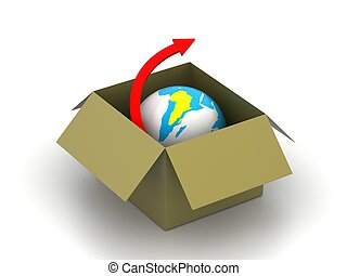 3d concept of World delivery
