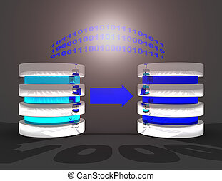 3d, concept, reservekopie, illustration., databank