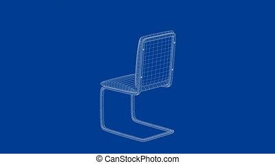 3d, conception, chaise